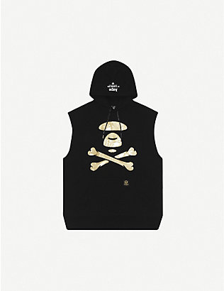 AAPE: Logo-print sleeveless cotton-jersey sweatshirt