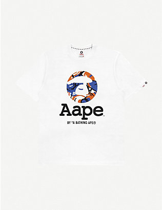 AAPE: Graphic-print cotton-jersey T-shirt