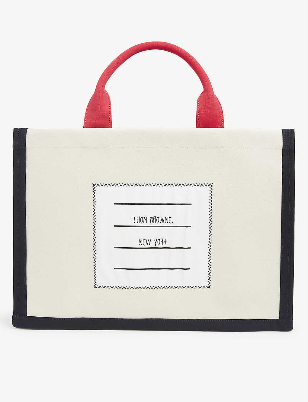 THOM BROWNE: Colour-blocked cotton-canvas tote