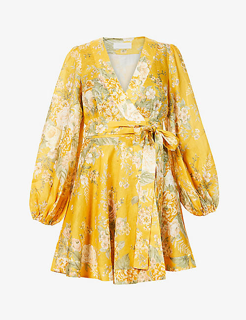 ZIMMERMANN: Amelie floral-print linen mini dress
