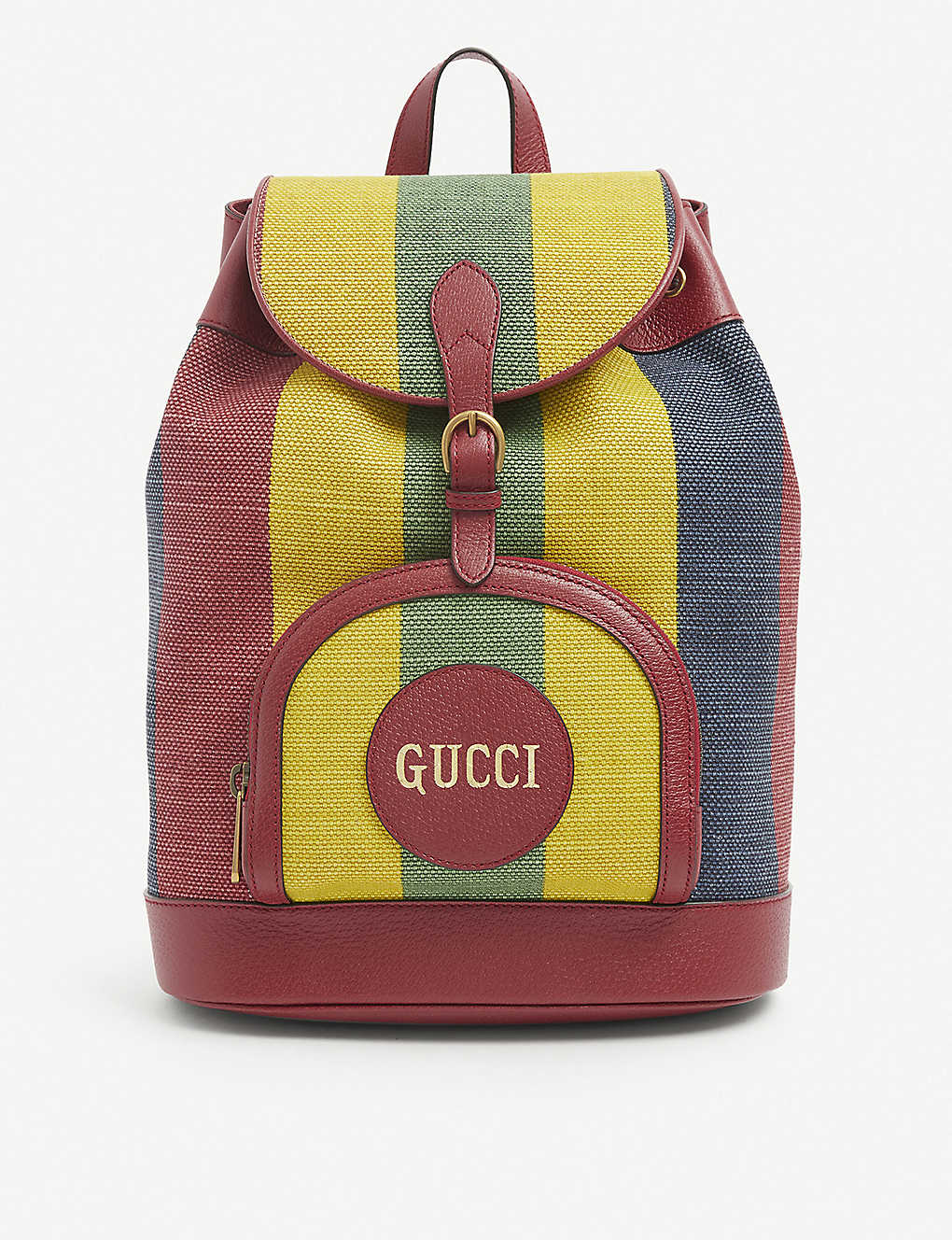 GUCCI: Merida striped linen backpack