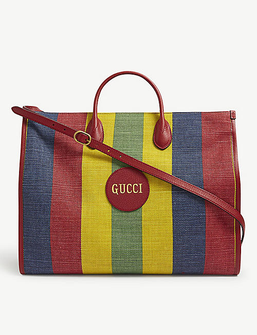 GUCCI: Merida stripe linen tote bag