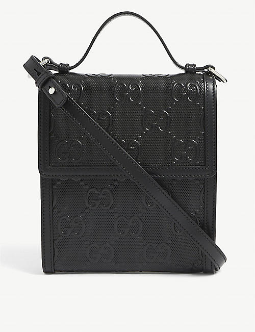 GUCCI: GG branded leather messenger bag