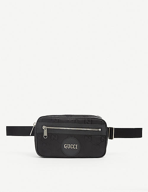 GUCCI: Logo-print leather and nylon belt bag