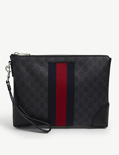 GUCCI: Logo-strip leather pouch