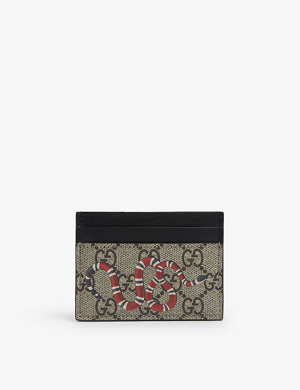 GUCCI: Bestiary snake-print leather card holder