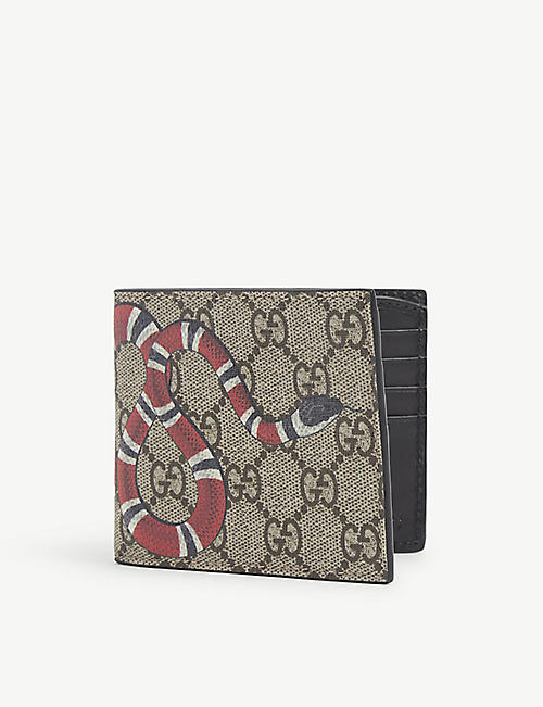 GUCCI: Bestiary snake-print canvas and leather wallet