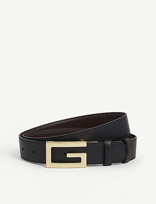 GUCCI: Logo-buckle leather belt