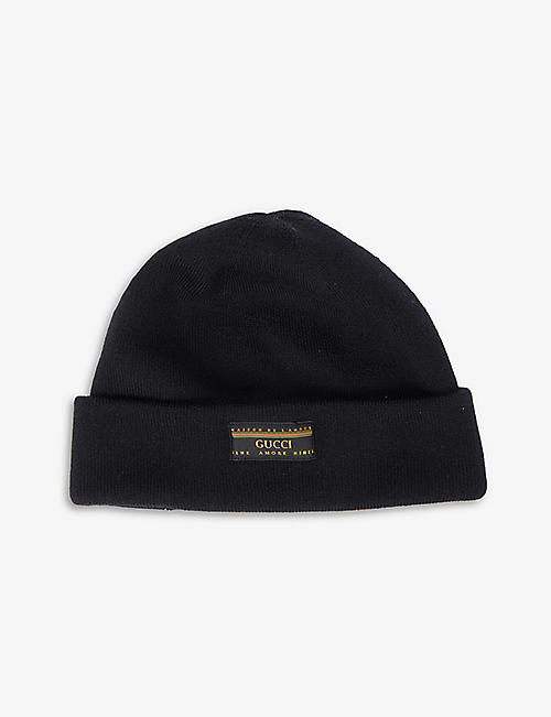 GUCCI: Logo-patch wool beanie hat
