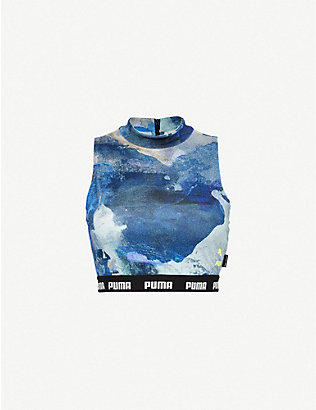 PUMA: Puma x Central Saint Martins abstract-print stretch-jersey crop top