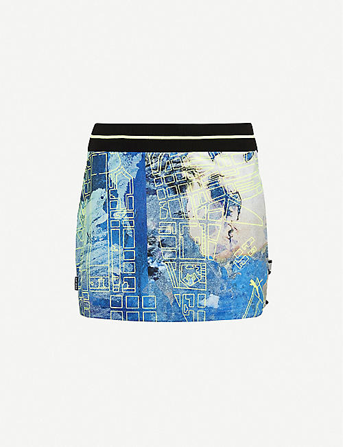 PUMA: Graphic-print high-waisted stretch-woven mini skirt
