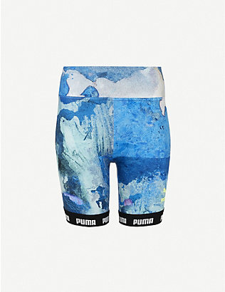 PUMA: Graphic-print high-rise stretch-woven shorts