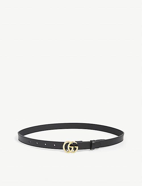 GUCCI: Double G thin leather belt