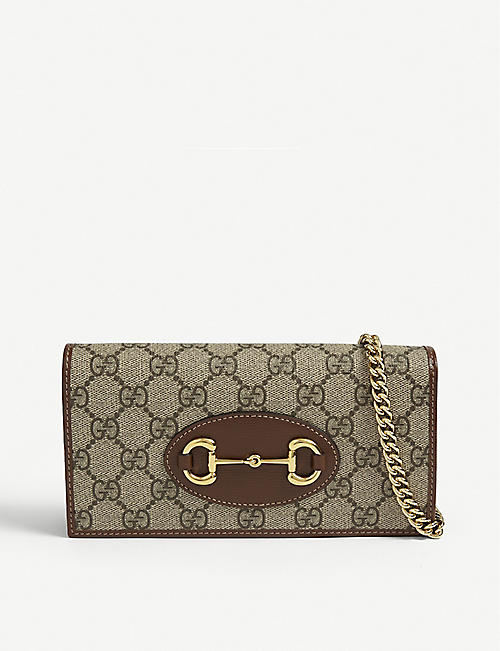 GUCCI: Logo-print leather wallet