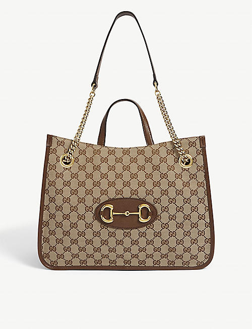 GUCCI: Horsebit logo-print cotton shoulder bag