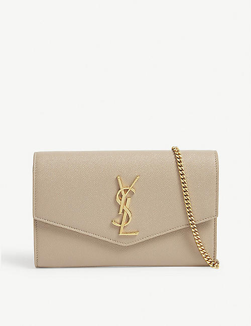 SAINT LAURENT: Uptown monogram leather wallet-on-chain