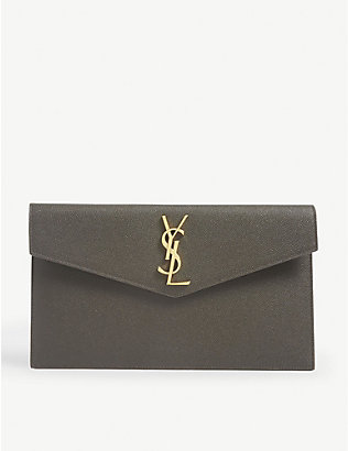 SAINT LAURENT: Uptown leather envelope pouch