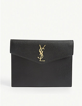 SAINT LAURENT: Uptown Baby leather envelope pouch