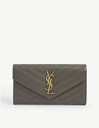 SAINT LAURENT: Monogram matelassé leather wallet