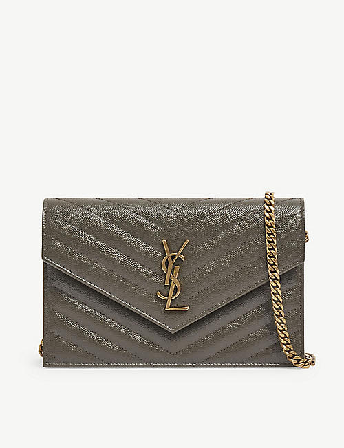 SAINT LAURENT: Monogram leather chain wallet