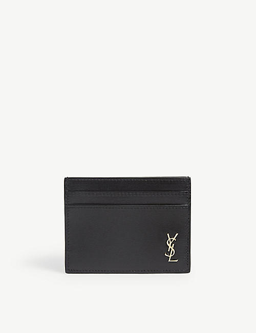 SAINT LAURENT: Monogram-logo leather cardholder