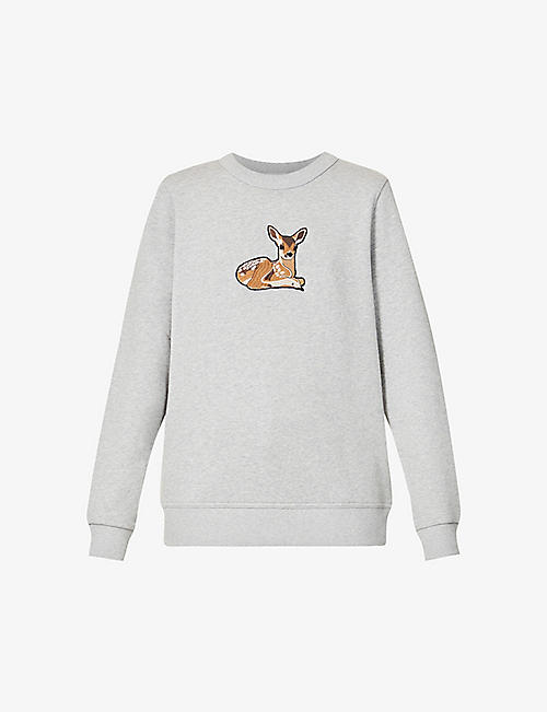 BURBERRY: Fairhall deer-embroidered cotton-jersey sweatshirt