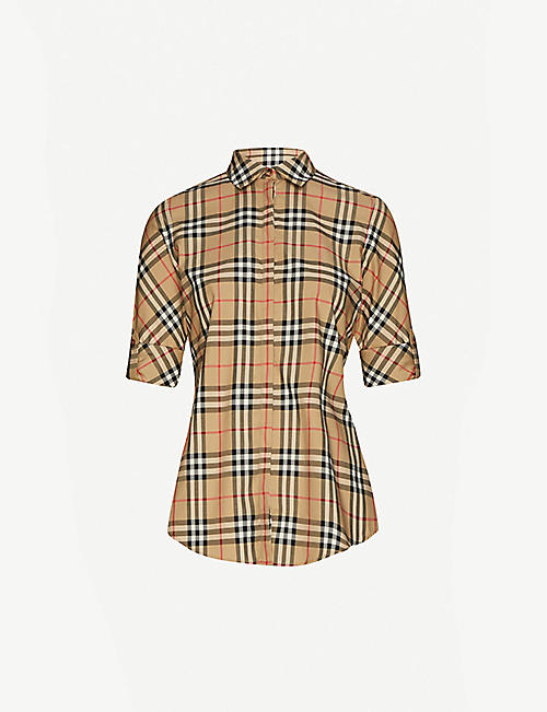 BURBERRY: Luka checked stretch-cotton shirt