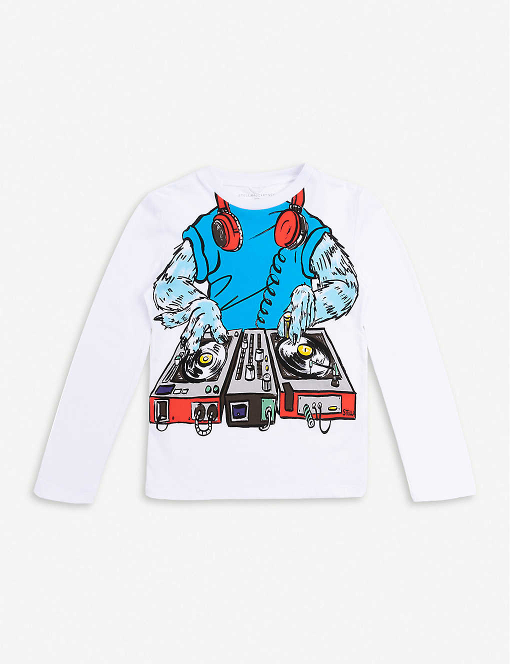 STELLA MCCARTNEY: Monster DJ graphic-print long-sleeved cotton T-shirt 4-10 years