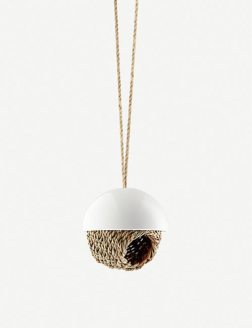 EVA SOLO: Hanging porcelain and woven rush bird shelter 63cm