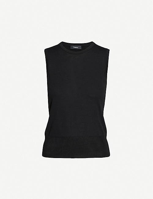 THEORY: Sleeveless silk-blend knitted top