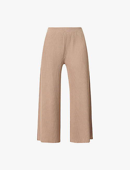 THEORY: Henriet cropped wide-leg high-rise stretch-knit trousers
