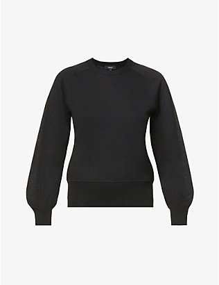 THEORY: Knitted crop cashmere jumper