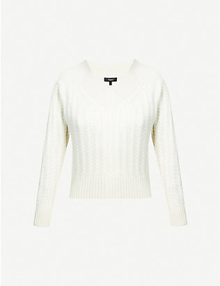 THEORY: V-neck cable-knit cashmere jumper