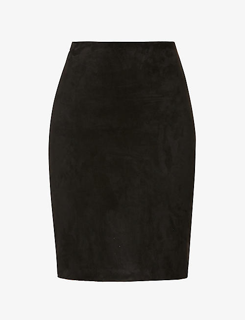 THEORY: High-waist suede midi skirt