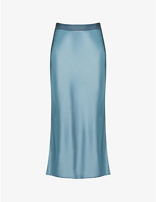 THEORY: High-waist satin maxi skirt