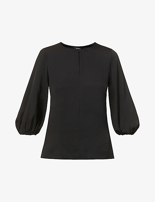 THEORY: Puffed-sleeve round-neck stretch-silk top