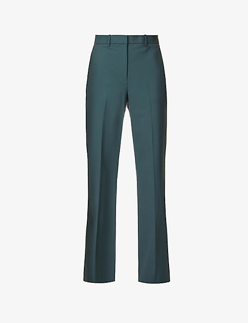 THEORY: Demitria high-rise flared stretch-wool trousers