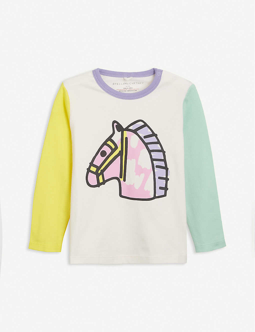 STELLA MCCARTNEY: Colour-blocked horse-print cotton T-shirt 3-36 months