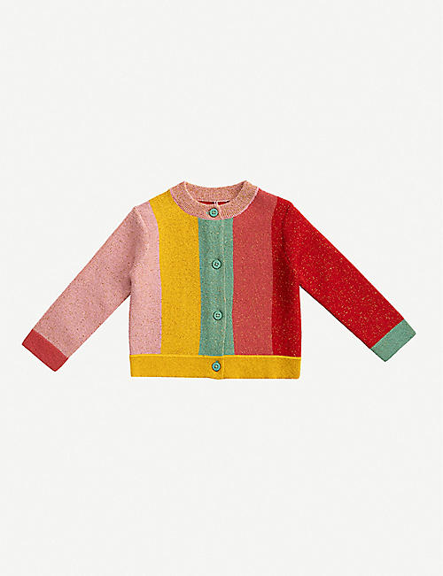 STELLA MCCARTNEY: Colour-blocked striped knitted cardigan 3-36 months