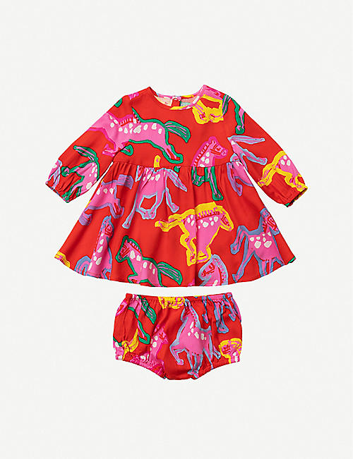 STELLA MCCARTNEY: Horse-print crepe dress and bloomers set 3-36 months