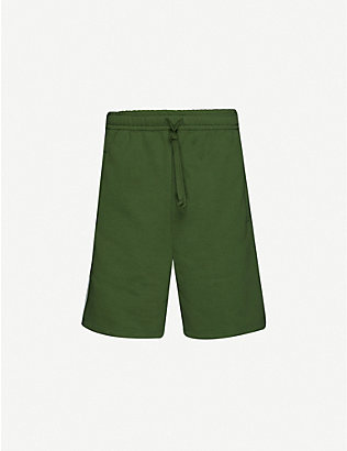 GUCCI: Logo-tape cotton-jersey shorts