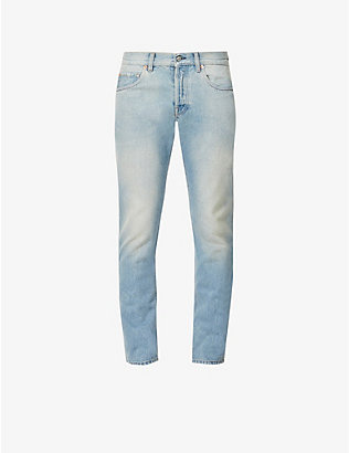GUCCI: Web-stripe slim-fit tapered jeans