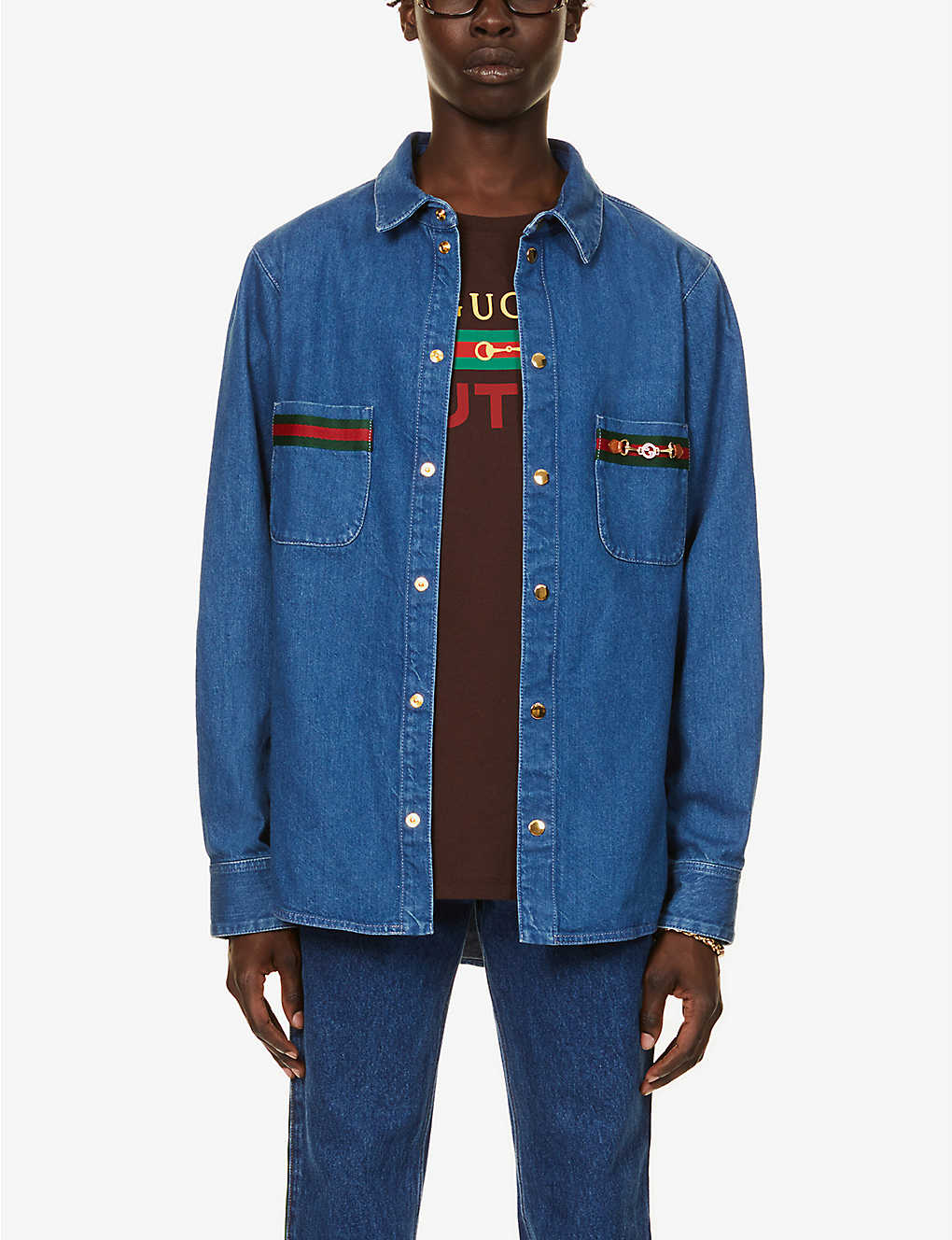 GUCCI: Branded-striped denim shirt
