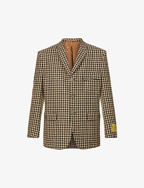 GUCCI: Checked padded-shoulder wool-blend jacket
