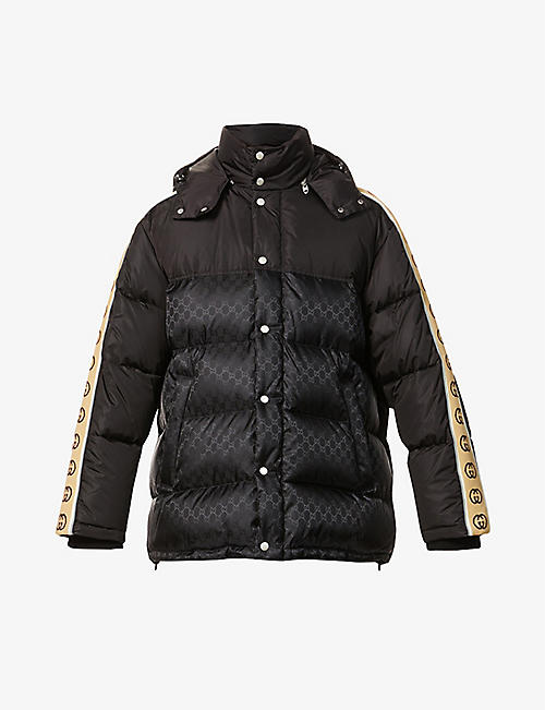 GUCCI: Padded logo-print shell-down puffer jacket