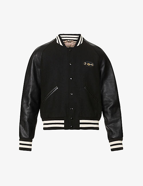 GUCCI: Logo-embroidered wool and leather bomber jacket