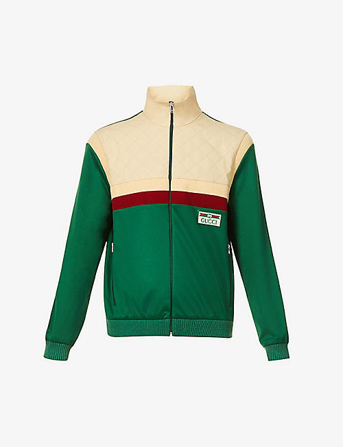 GUCCI: Colour-blocked quilted cotton-blend jacket