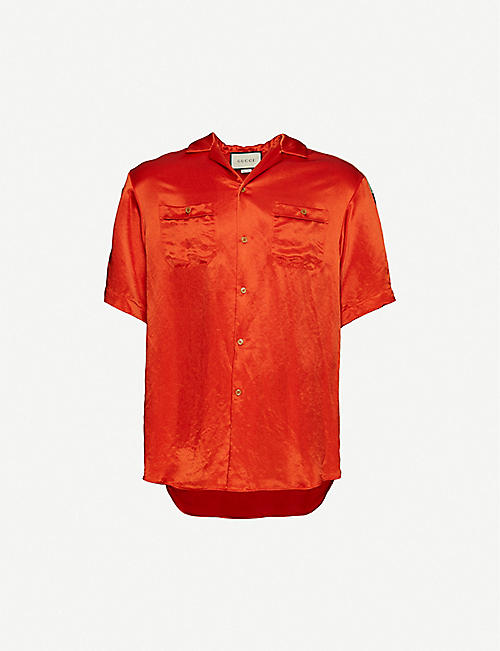 GUCCI: Logo-tape crepe shirt