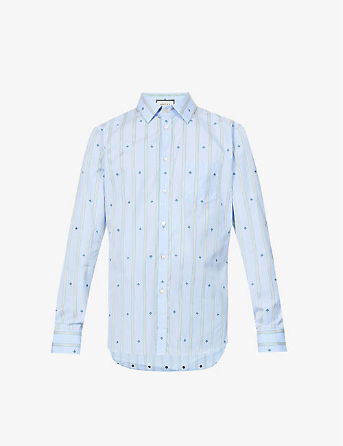 GUCCI: Bee-embroidered tailored-fit cotton shirt