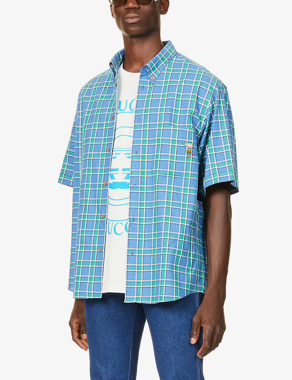 GUCCI: Tartan-print graphic-embroidered cotton shirt